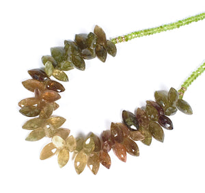 Unusual Marquis 'Spike' Cut Grossular Garnet & Peridot Necklace