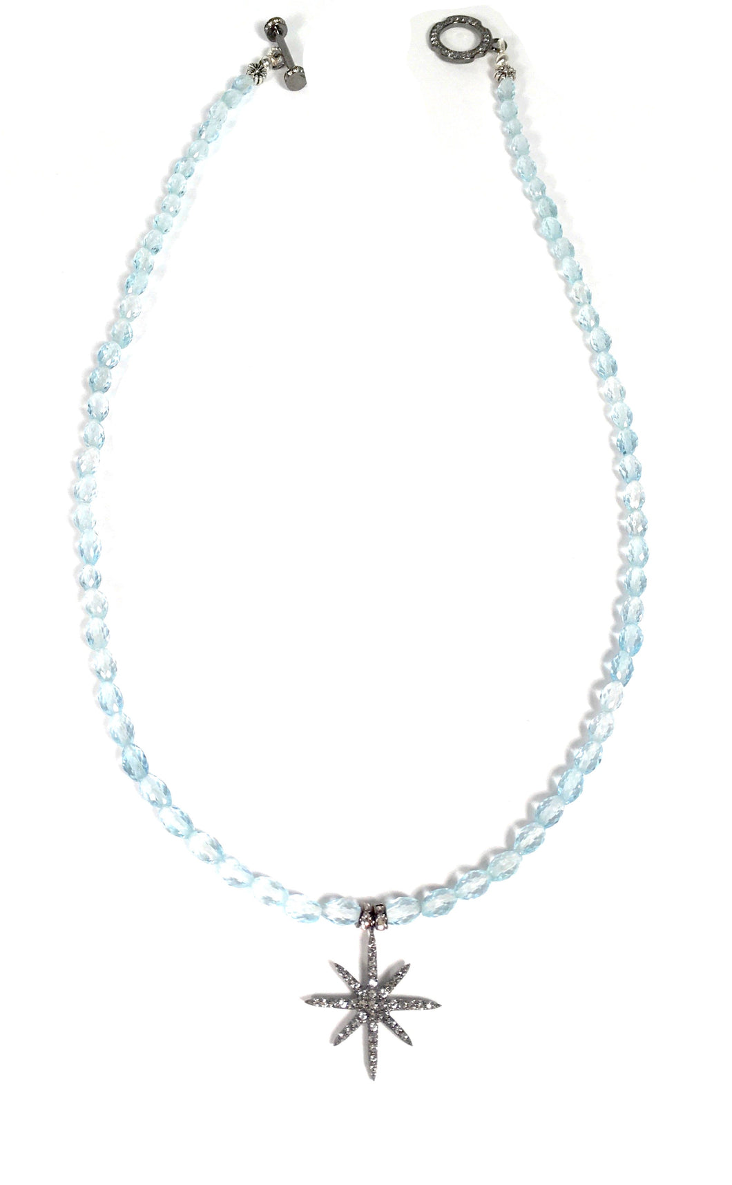 North Star White Topaz Pendant with Baby Blue Ovals