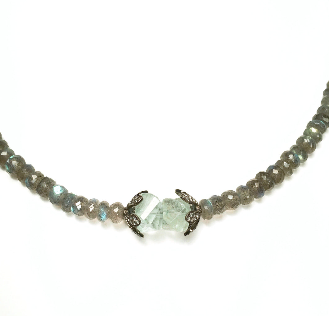 Faceted Labradorite with Natural Aquamarine Necklace