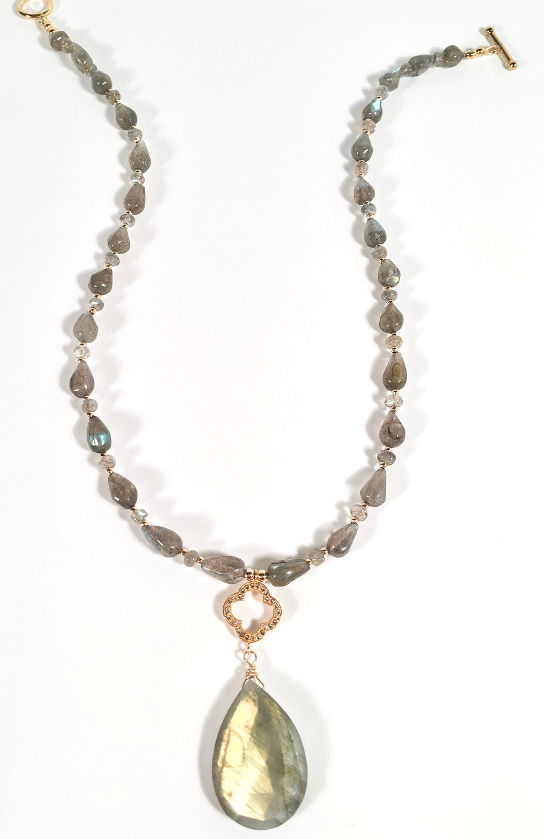 Golden Gray Labradorite Pendant Necklace