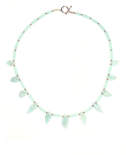 Natural Aquamarine, Hand-Carved Leaf Necklace with Peruvian Chalcedony Gems