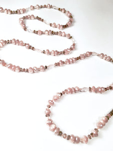Stunning Casual Peach Moonstone, Pink Quartz Necklace