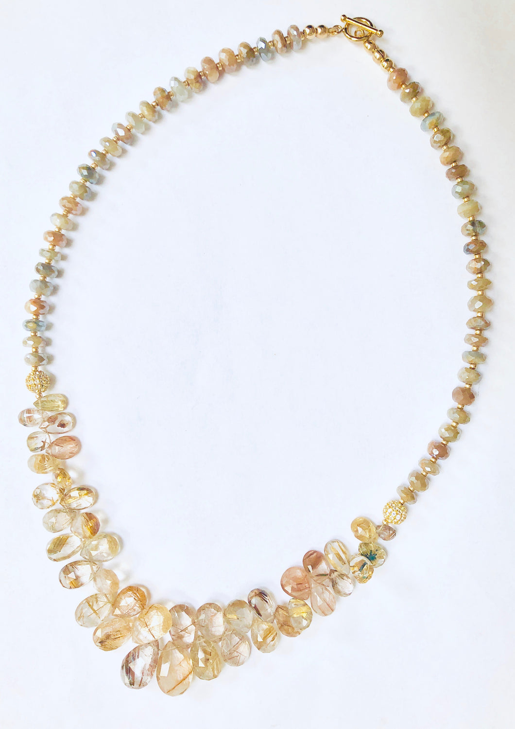 Golden Moonstone and Golden Reticulated Quartz Necklace