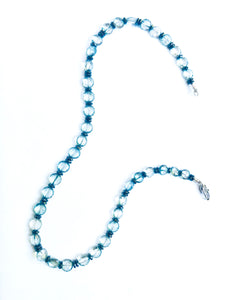 Understated Bling! Faceted Blue Quartz with Hematite Fall Necklace