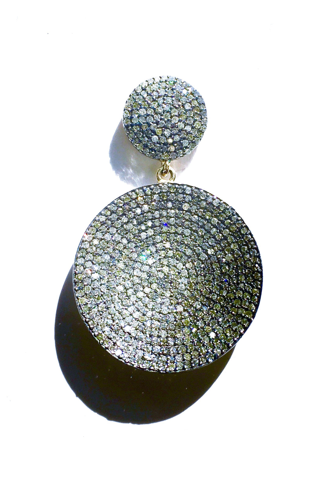 Two-Tier Earrings with Double Diamond Discs