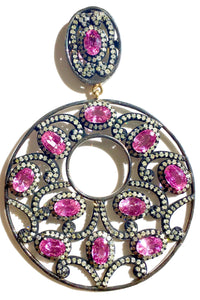 Spectacular Pink Sapphire & Diamond Gypsy Drop Hoops