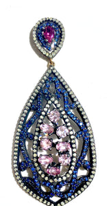 Special Sapphire and Diamond Open Drop Earrings