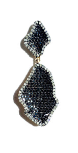 'Wave' Black and White Diamond Drop Earrings