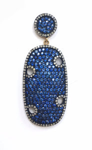 Bold Blue Sapphire and Diamond Drop Earrings