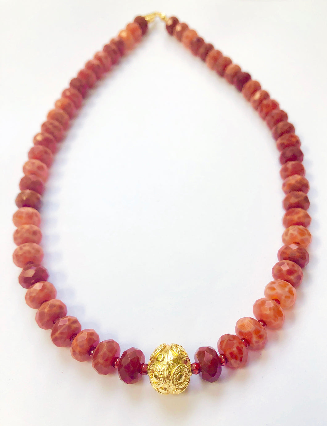 Perfect for Cool Weather! A Fire Agate and Garnet Necklace