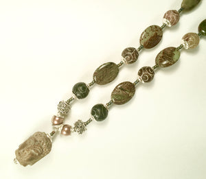 Carved Jade, Snakeskin Jaspar and Pearl Buddha Necklace