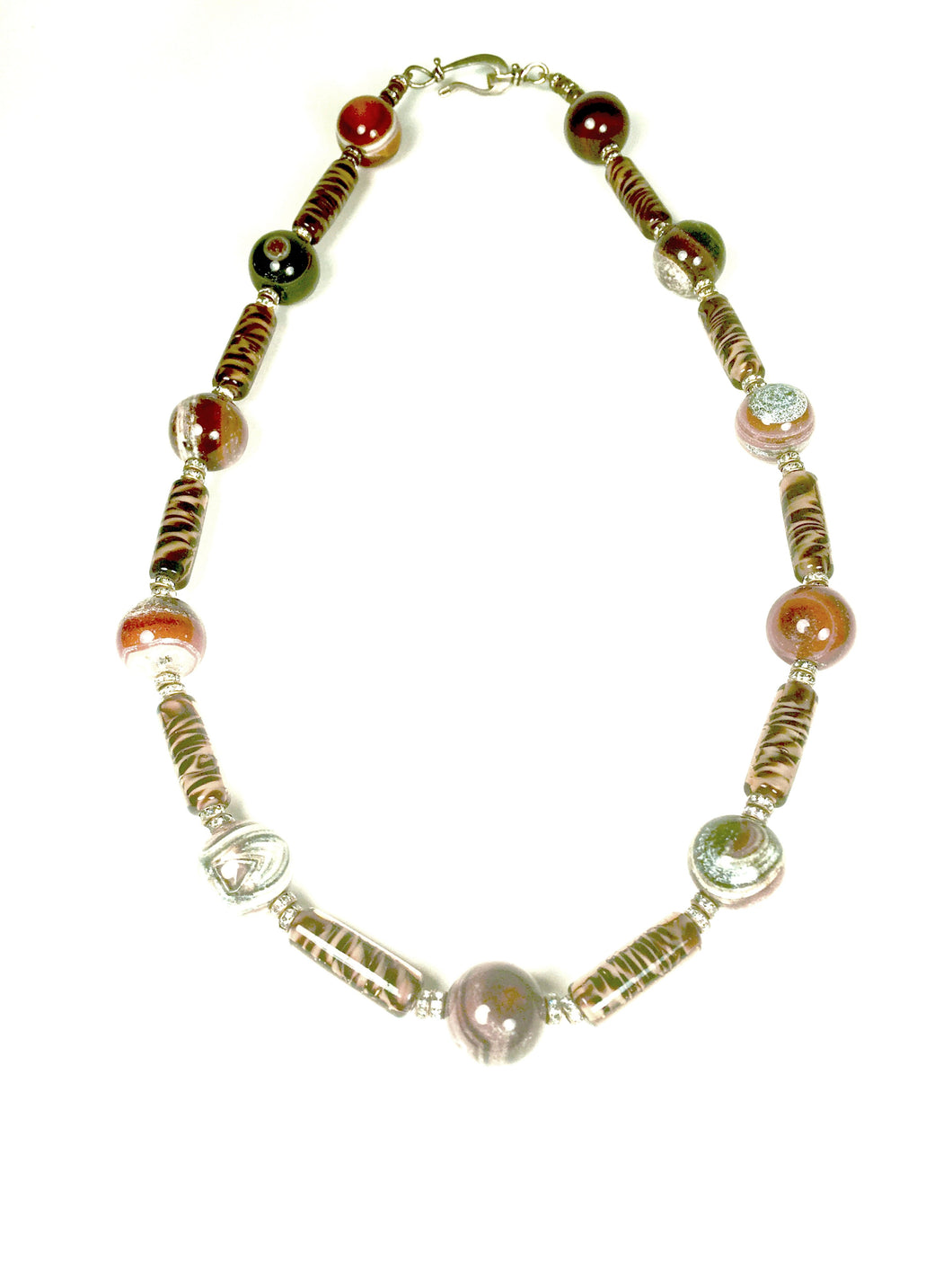 Landscape Agate, Handblown Zebra Glass Necklace