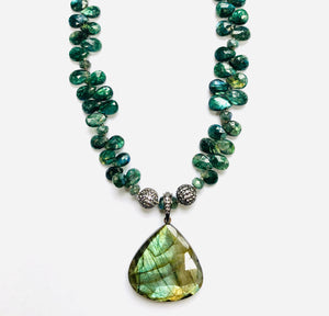 Emerald Green Labradorite with White Topaz Gemstone Pave Rocks!