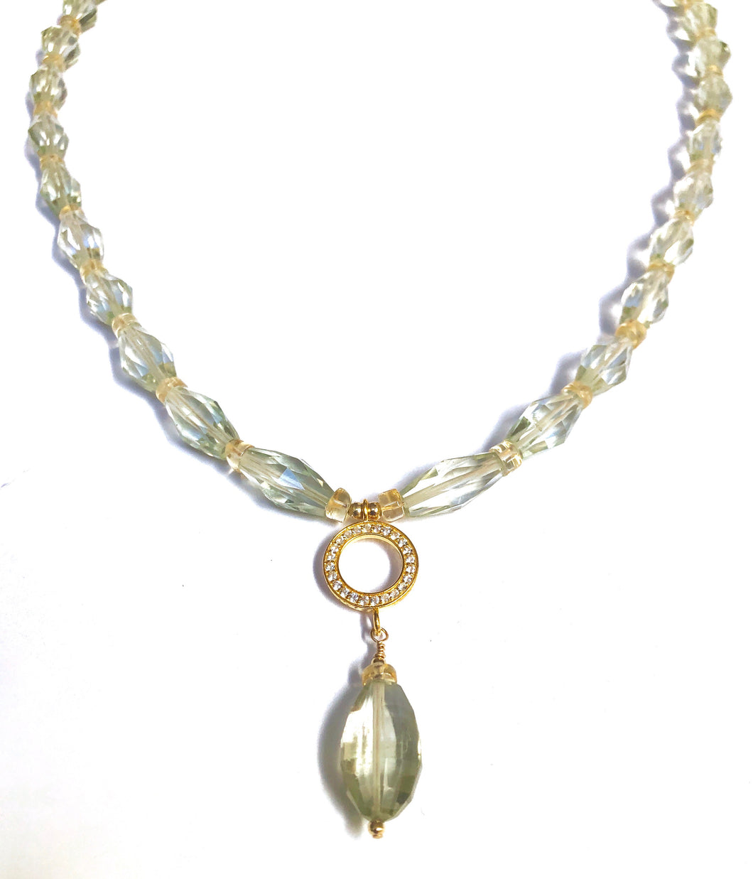 Green Amethyst Faceted Elegant Necklace