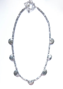 Unusual Cut Half Moon Grey Agate and Corundum Necklace