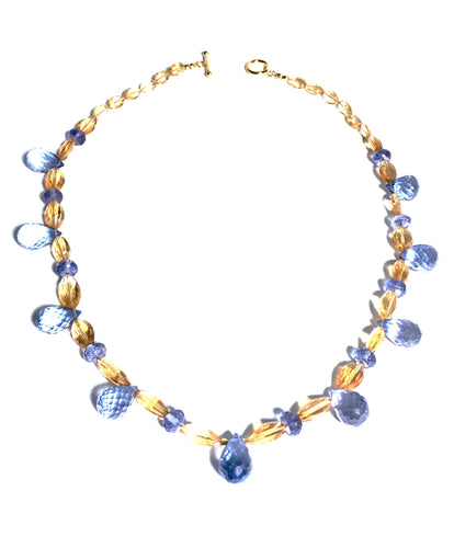 Fit for a Princess! Faceted Citrine Ovals and Mystic Blue Quartz Briolettes