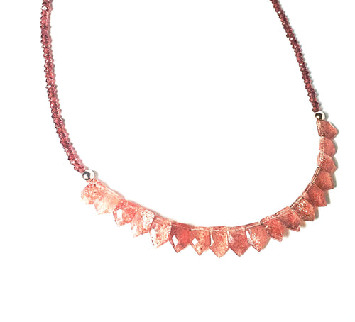 It's a Stunner! Faceted Sunstone, Garnet and Rose Gold Necklace