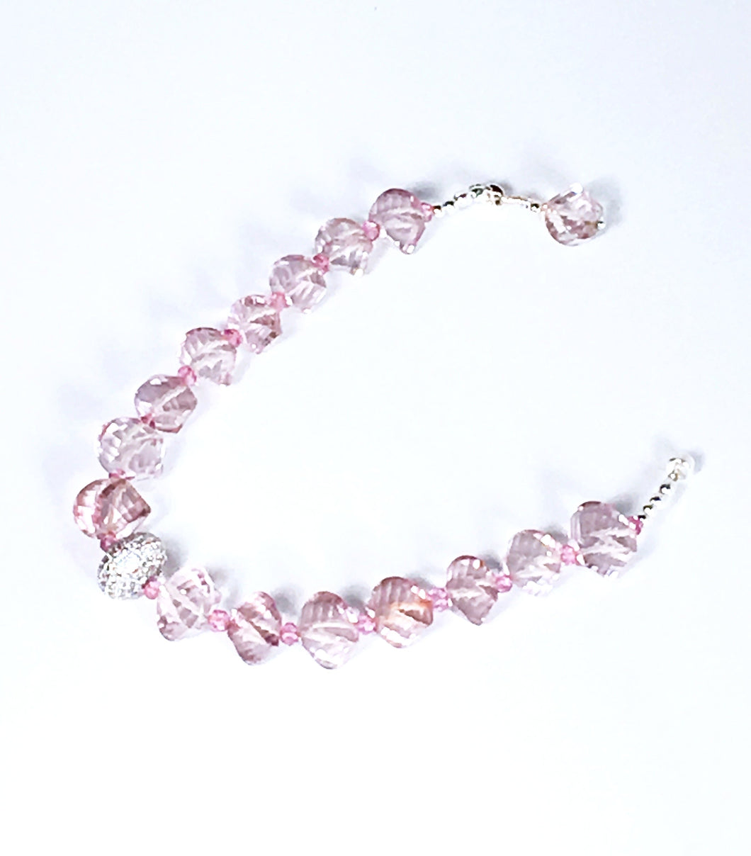 Onion Twist Fancy Faceted Pink Quartz Bracelet with Pave