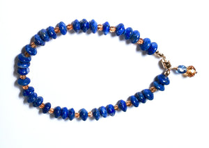 Lovely Lapis Lazuli, Hessonite and Tanzanite Bracelet