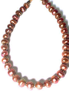 Gorgeous, Brandy Colored, Freshwater Pearl Necklace