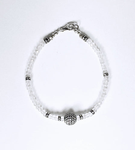 Faceted Moonstone & White Topaz Bracelet
