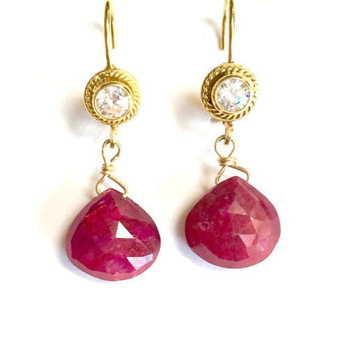 Faceted Ruby Briolette and White Topaz Earrings