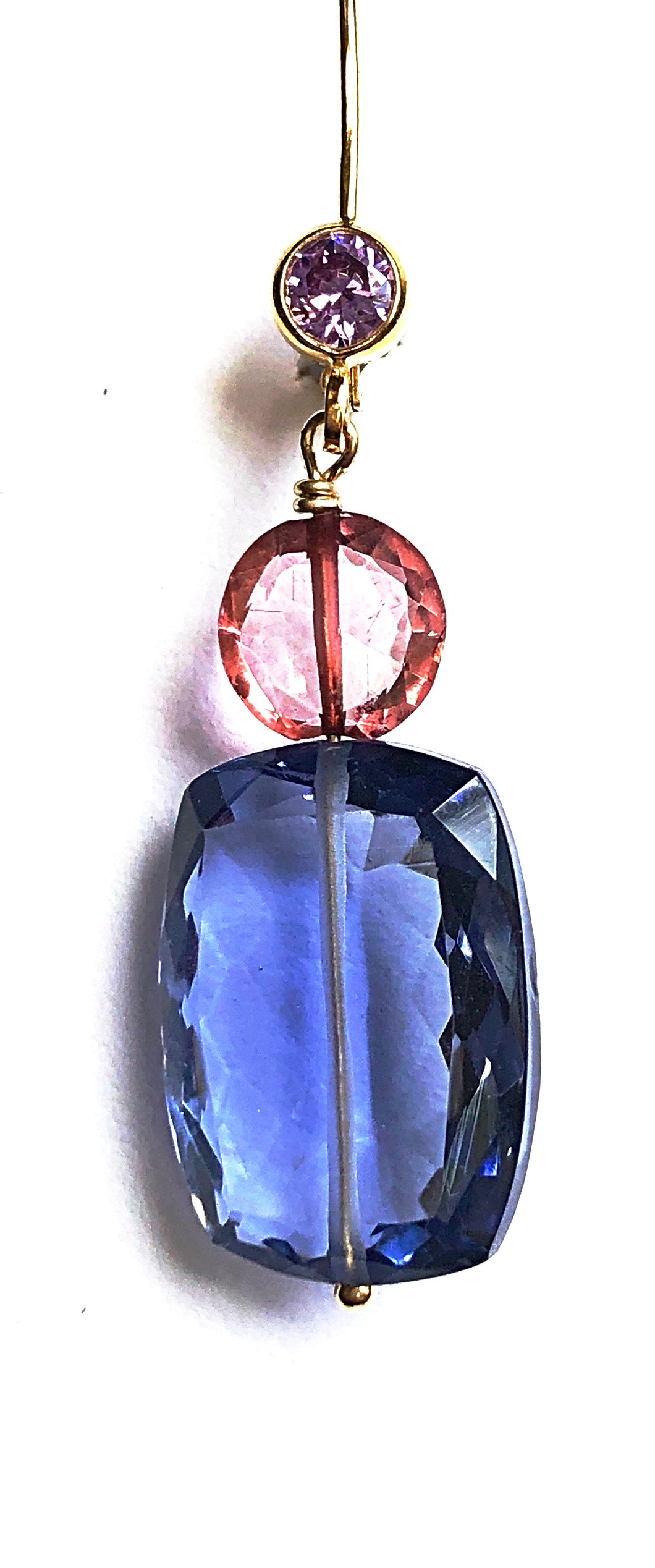 Like Liz Taylor's Eyes....Luscious Iolite, Pink quartz and Amethyst drop earrings
