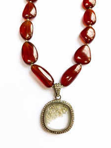 One of a Kind! Amazing Diamond and Hessonite Garnet Necklace