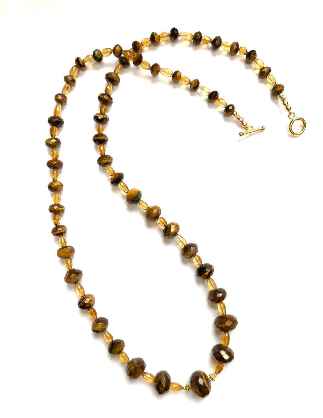 An Exciting Find!!  Unusual, Faceted Tiger Eye Gemstone Necklace