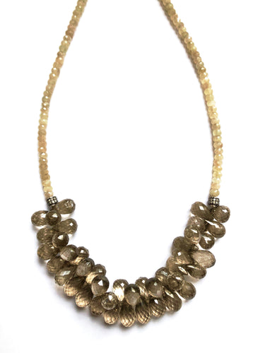 Quiet Bling! Smoky Quartz, Diamond and Corundum Necklace