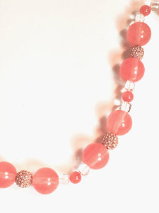 Cherry Quartz, Rhodochrosite, Clear Quartz Necklace