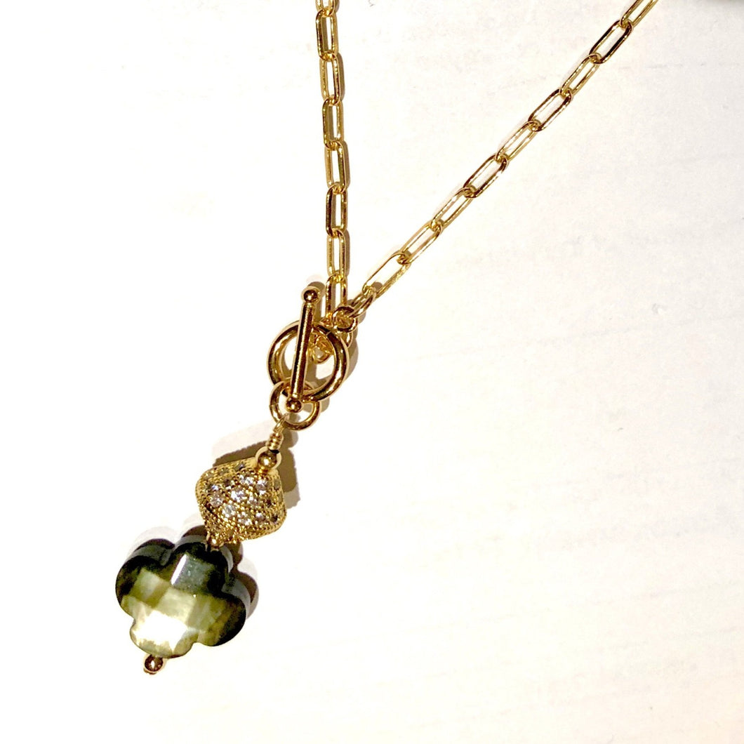 Beautiful white Topaz and Mother of Pearl Drop Necklace