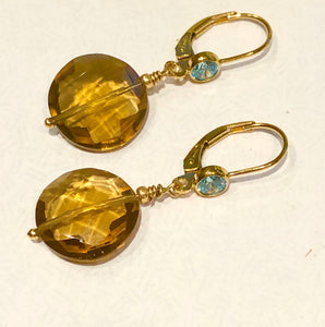 Whiskey Quartz & Blue Topaz earrings