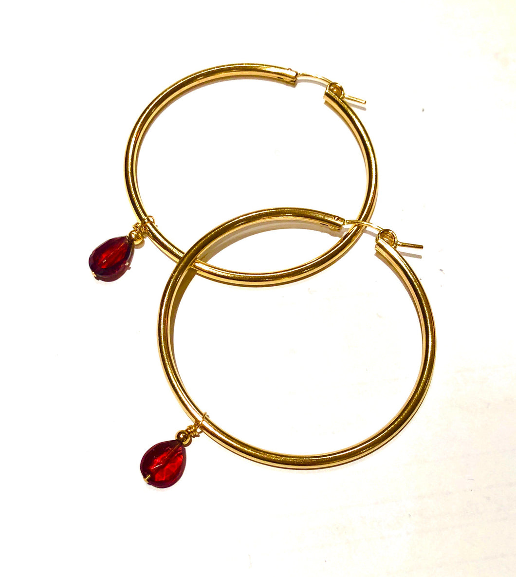 Gold Hoops with Garnet Drops