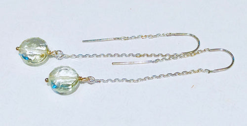 Sterling and Green Amethyst Earrings
