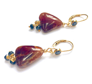 Hessonite and Black spinel Earrings