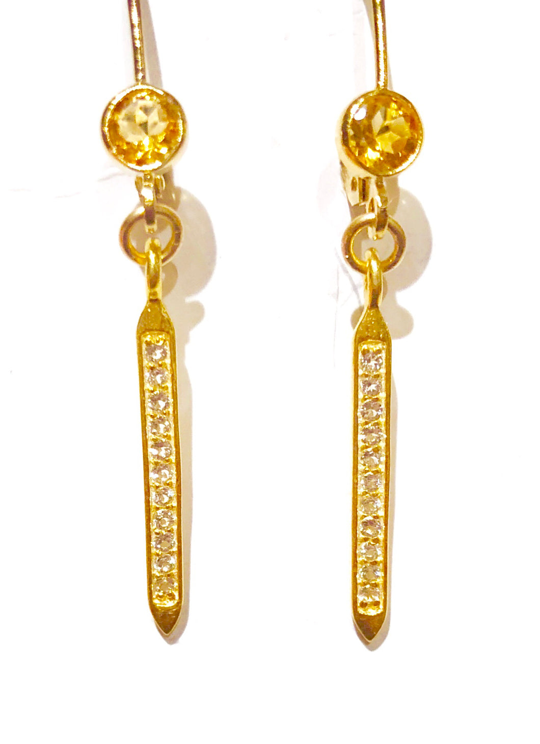 Citrine and White Topaz Drip Spike Earrings