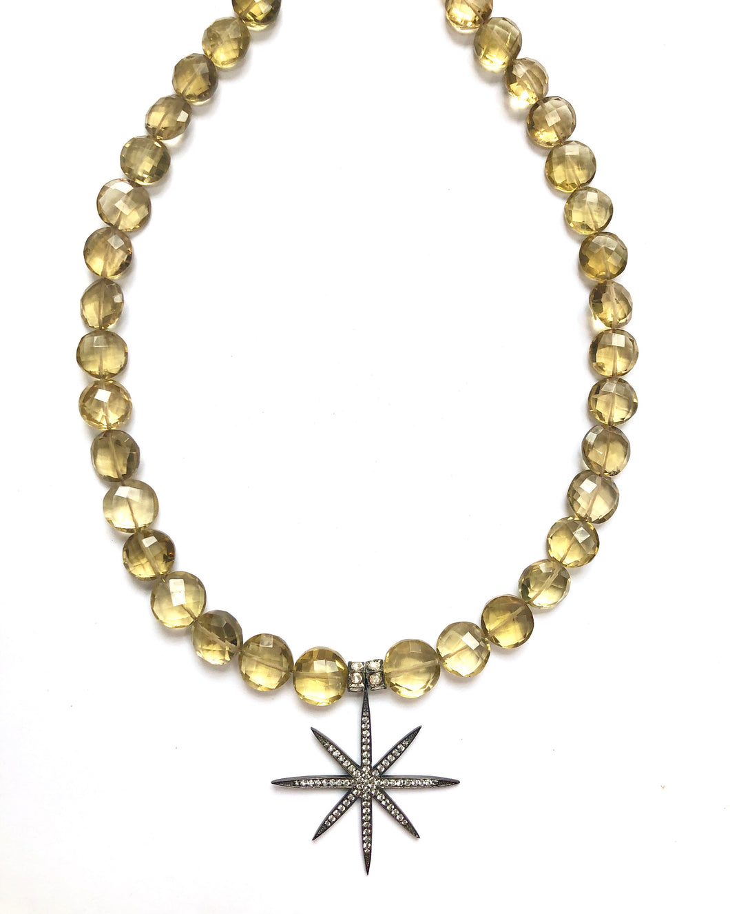 Champagne Quartz & Star White Topaz Necklace