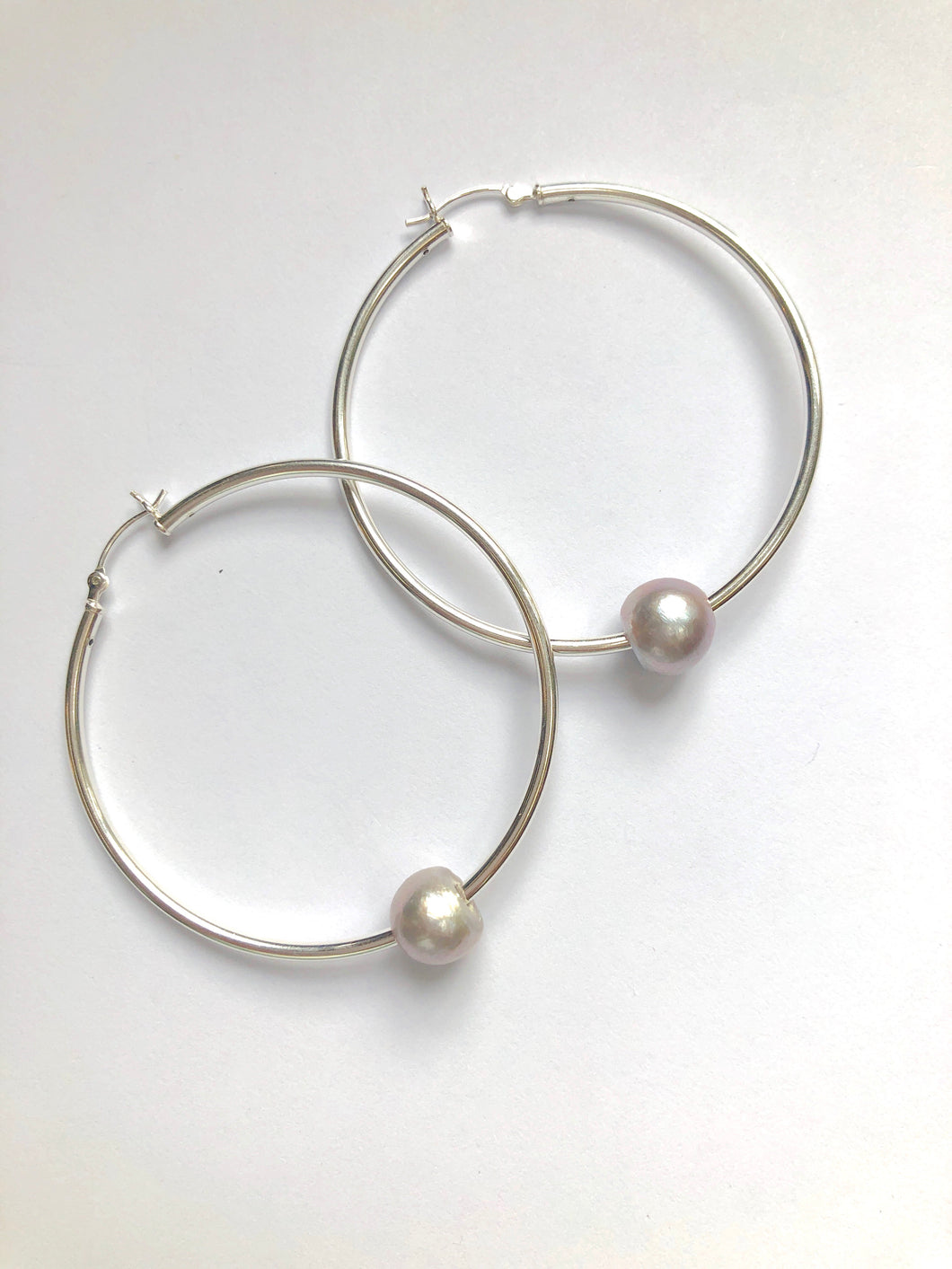 Silver Hoops with Gray Pearl
