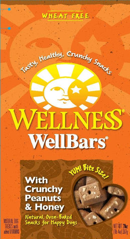 Wellness Wellbars Natural Oven Bakes Grain Free Peanuts and Honey Biscuits Dog Treats