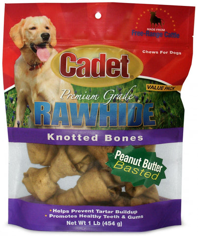 Cadet Rawhide Peanut Butter Flavor Knotted Bones for Dogs