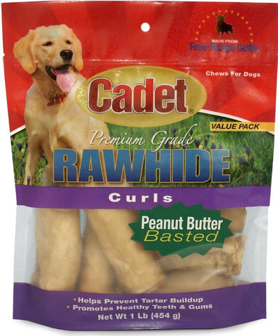 Cadet Rawhide Peanut Butter Flavor Curls for Dogs
