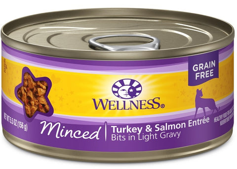 Wellness Grain Free Natural Minced Turkey and Salmon Entree Wet Canned Cat Food