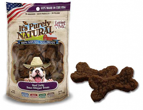 Loving Pets It's Purely Natural Beef Jerky Bone Shaped Dog Treats