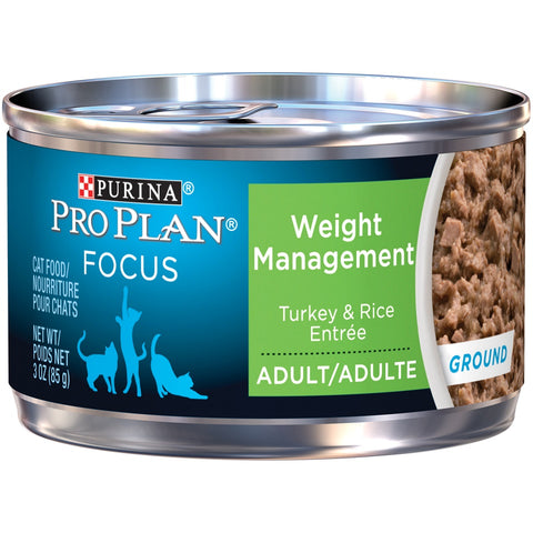 Purina Pro Plan Focus Adult Weight Management Turkey and Rice Entree Ground Canned Cat Food