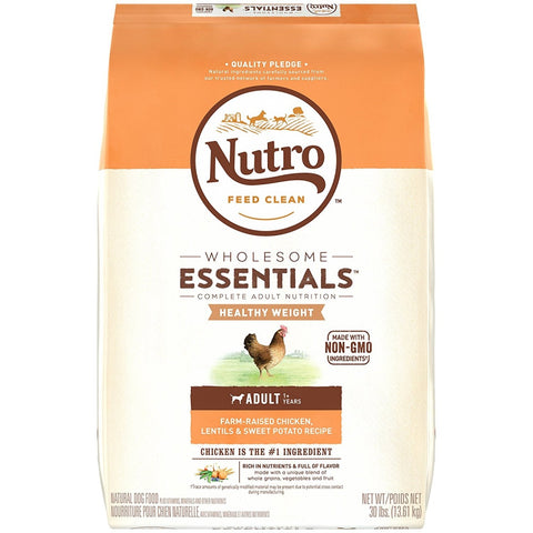 Nutro Wholesome Essentials Healthy Weight Adult Farm-Raised Chicken, Lentils & Sweet Potato Dry Dog Food