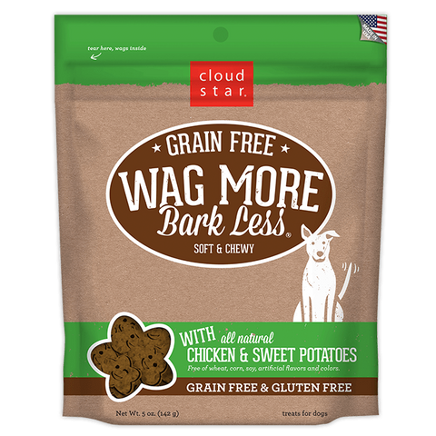 Cloud Star Wag More Bark Less Soft and Chewy Grain Free Chicken and Sweet Potatoes Dog Treats