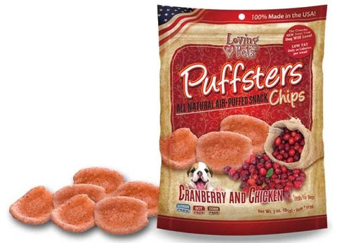 Loving Pets Puffsters Chips Cranberry and Chicken Air Puffed Dog Treats