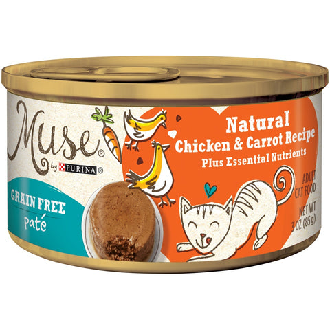 Purina Muse Grain Free Natural Chicken and Carrot Pate Recipe Canned Cat Food
