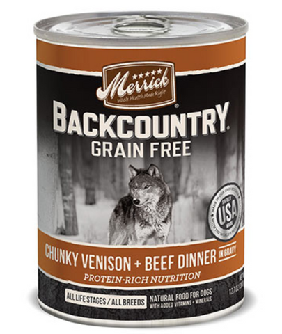 Merrick Backcountry Grain Free Chunky Venison and Beef Canned Dog Food
